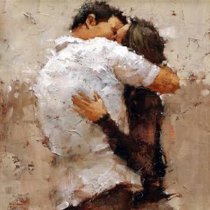 The Kiss Painting by Andre Kohn; The Kiss Art Print for sale